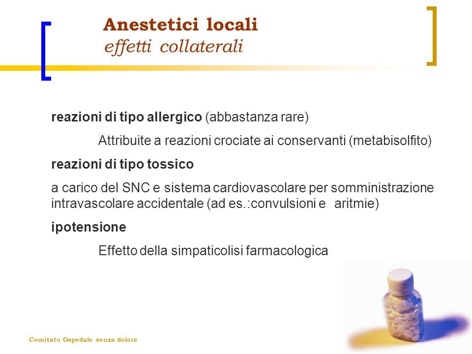 Comitato Ospedale senza dolore Anestetici locali effetti collaterali reazioni di tipo allergico (abbastanza rare) Attribuite a reazioni crociate ai co