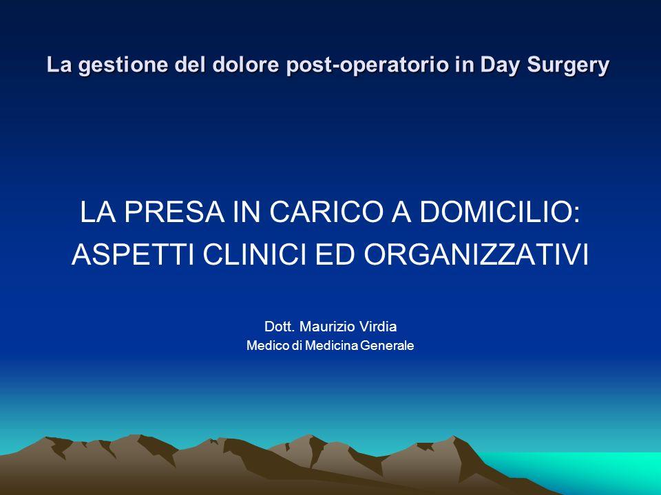 La gestione del dolore post-operatorio in Day Surgery LA PRESA IN CARICO A DOMICILIO: ASPETTI CLINICI ED ORGANIZZATIVI Dott. Maurizio Virdia Medico di