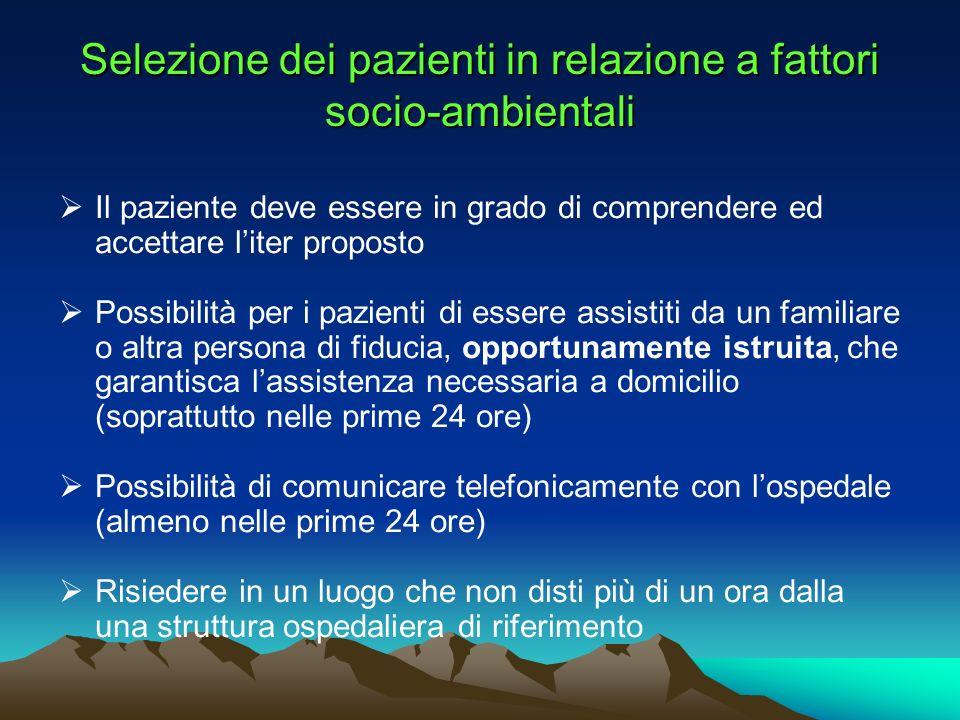 Selezione dei pazienti in relazione a fattori socio-ambientali Il paziente deve essere in grado di comprendere ed accettare liter proposto Possibilità