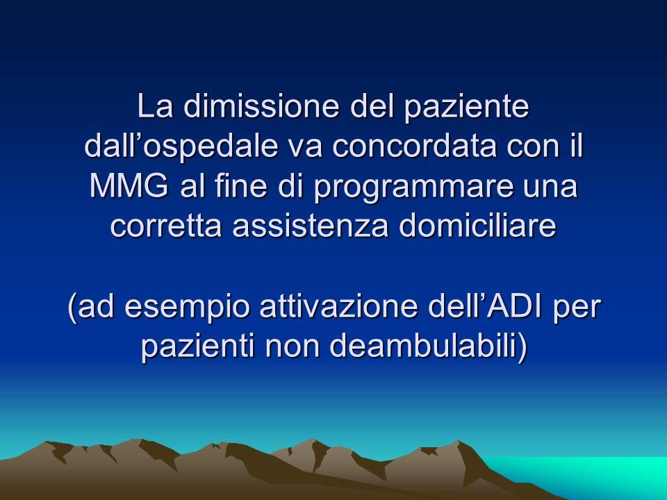 La dimissione del paziente dallospedale va concordata con il MMG al fine di programmare una corretta assistenza domiciliare (ad esempio attivazione de