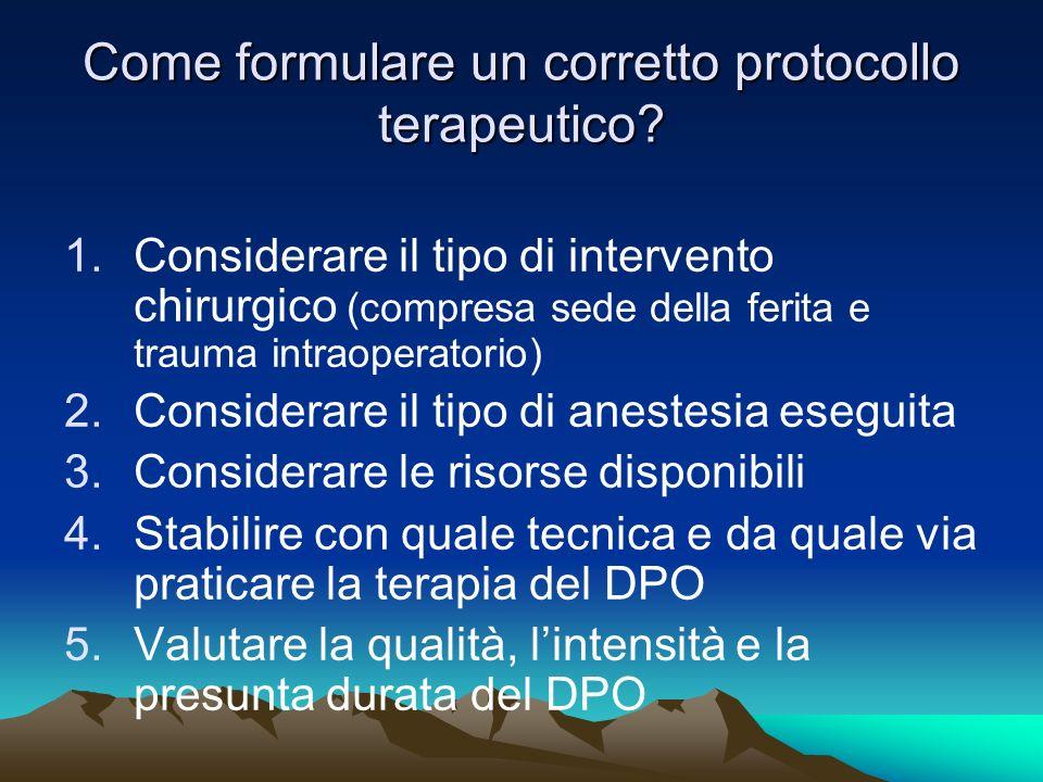Come formulare un corretto protocollo terapeutico? 1.Considerare il tipo di intervento chirurgico (compresa sede della ferita e trauma intraoperatorio