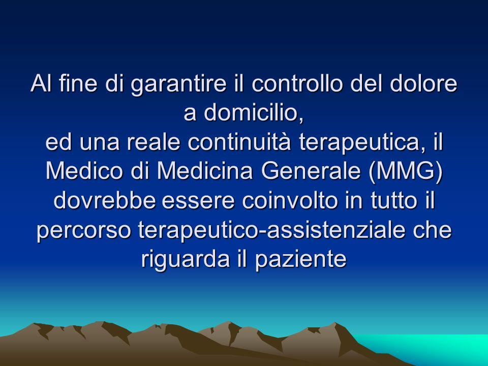 Al fine di garantire il controllo del dolore a domicilio, ed una reale continuità terapeutica, il Medico di Medicina Generale (MMG) dovrebbe essere co