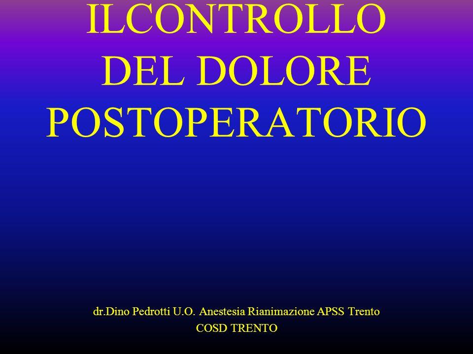 ILCONTROLLO DEL DOLORE POSTOPERATORIO dr.Dino Pedrotti U.O. Anestesia Rianimazione APSS Trento COSD TRENTO