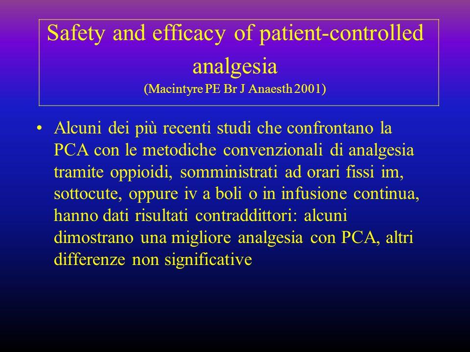 Safety and efficacy of patient-controlled analgesia (Macintyre PE Br J Anaesth 2001) Alcuni dei più recenti studi che confrontano la PCA con le metodi