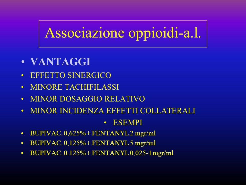 Associazione oppioidi-a.l. VANTAGGI EFFETTO SINERGICO MINORE TACHIFILASSI MINOR DOSAGGIO RELATIVO MINOR INCIDENZA EFFETTI COLLATERALI ESEMPI BUPIVAC.