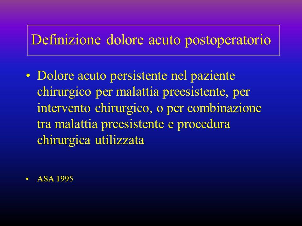 Definizione dolore acuto postoperatorio Dolore acuto persistente nel paziente chirurgico per malattia preesistente, per intervento chirurgico, o per c