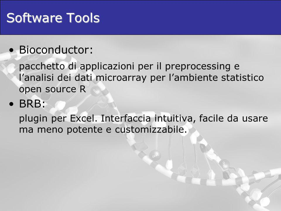 Software Tools Bioconductor: pacchetto di applicazioni per il preprocessing e lanalisi dei dati microarray per lambiente statistico open source R BRB: