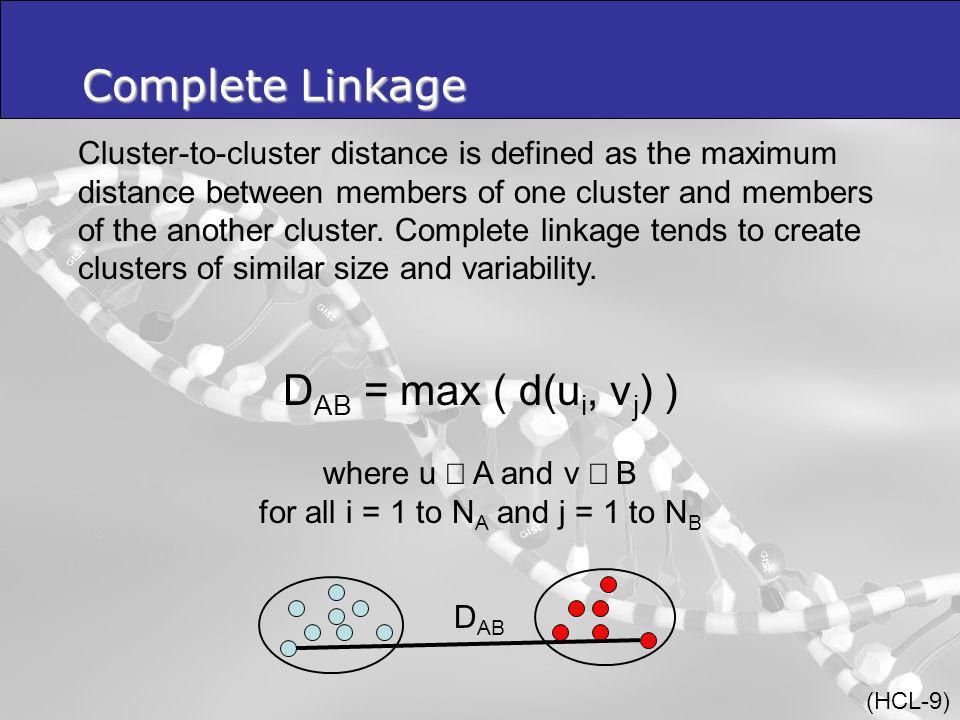 Cluster-to-cluster distance is defined as the maximum distance between members of one cluster and members of the another cluster.