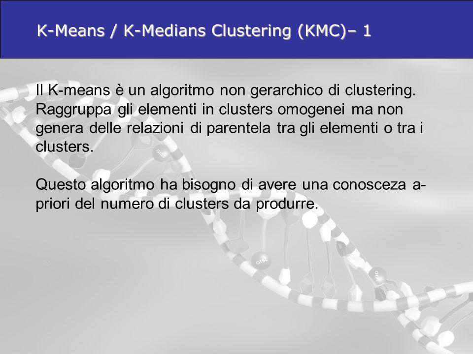 Il K-means è un algoritmo non gerarchico di clustering. Raggruppa gli elementi in clusters omogenei ma non genera delle relazioni di parentela tra gli