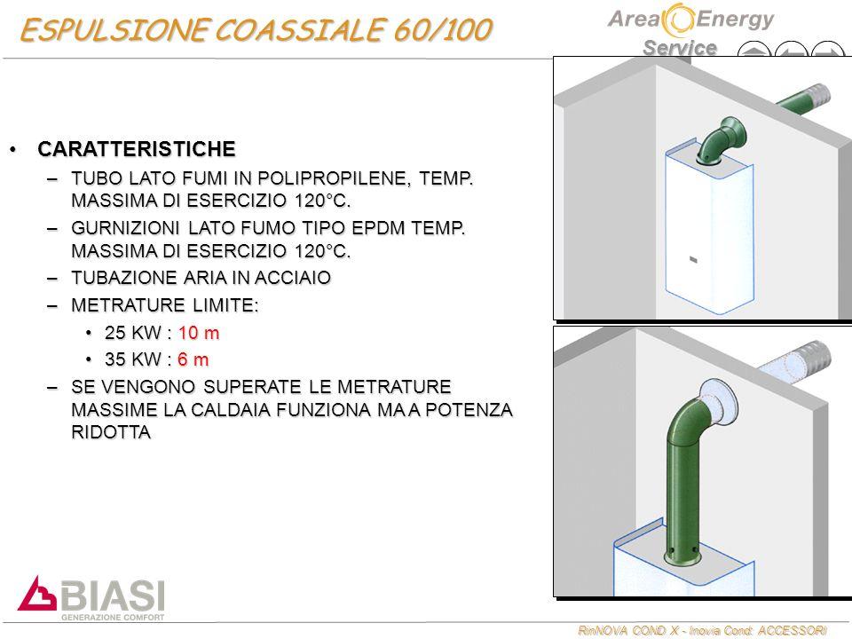 RinNOVA COND X - Inovia Cond: ACCESSORI Service ESPULSIONE SDOPPIATA d.80 CARATTERISTICHECARATTERISTICHE –TUBAZIONI IN ALLUMINIO –SPESSORE DA 1,5 mm.
