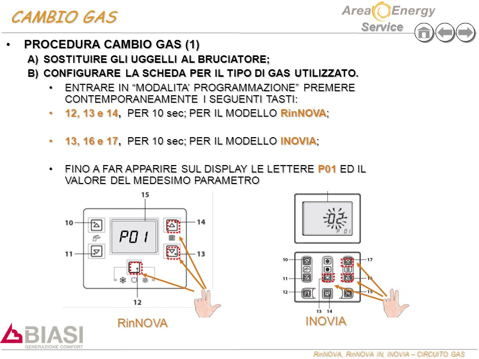 RinNOVA, RinNOVA IN, INOVIA – CIRCUITO GAS Service CAMBIO GAS PROCEDURA CAMBIO GAS (1)PROCEDURA CAMBIO GAS (1) A)SOSTITUIRE GLI UGGELLI AL BRUCIATORE; B)CONFIGURARE LA SCHEDA PER IL TIPO DI GAS UTILIZZATO.