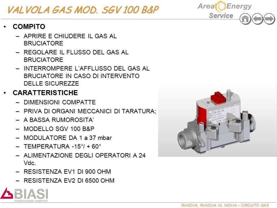 RinNOVA, RinNOVA IN, INOVIA – CIRCUITO GAS Service VALVOLA GAS MOD.