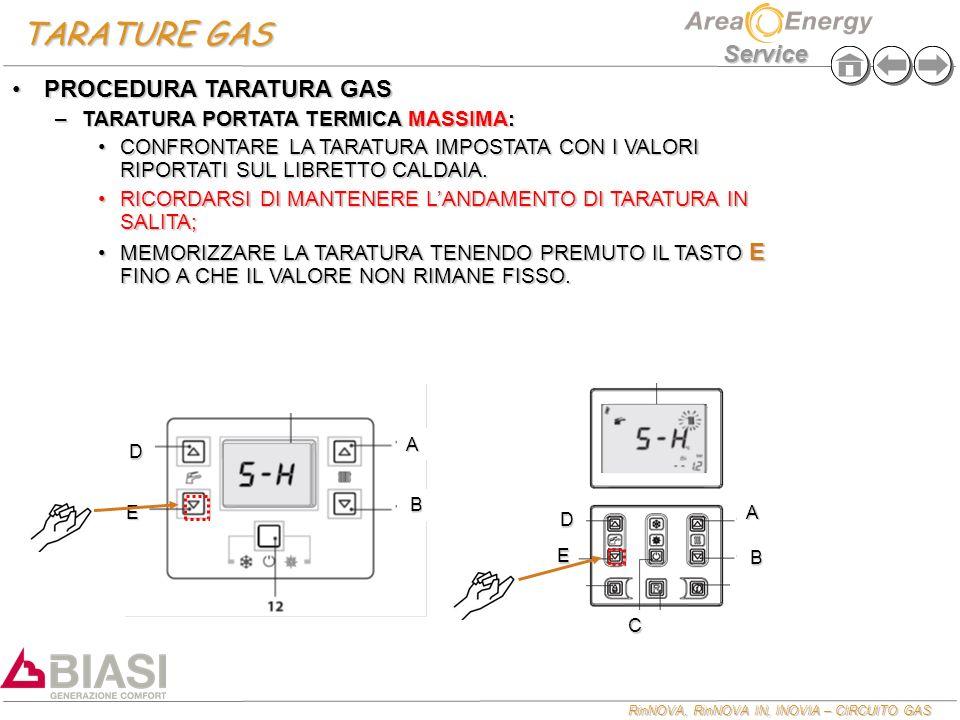 RinNOVA, RinNOVA IN, INOVIA – CIRCUITO GAS Service TARATURE GAS E A B D E A B C D PROCEDURA TARATURA GASPROCEDURA TARATURA GAS –TARATURA PORTATA TERMICA MASSIMA: CONFRONTARE LA TARATURA IMPOSTATA CON I VALORI RIPORTATI SUL LIBRETTO CALDAIA.CONFRONTARE LA TARATURA IMPOSTATA CON I VALORI RIPORTATI SUL LIBRETTO CALDAIA.
