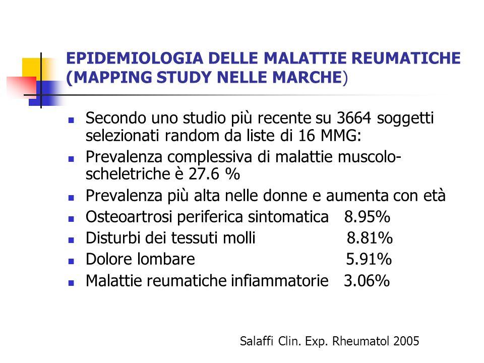 EPIDEMIOLOGIA DELLE MALATTIE REUMATICHE (MAPPING STUDY NELLE MARCHE) Secondo uno studio più recente su 3664 soggetti selezionati random da liste di 16