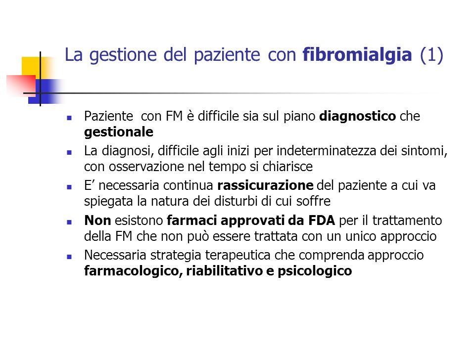 La gestione del paziente con fibromialgia (1) Paziente con FM è difficile sia sul piano diagnostico che gestionale La diagnosi, difficile agli inizi p