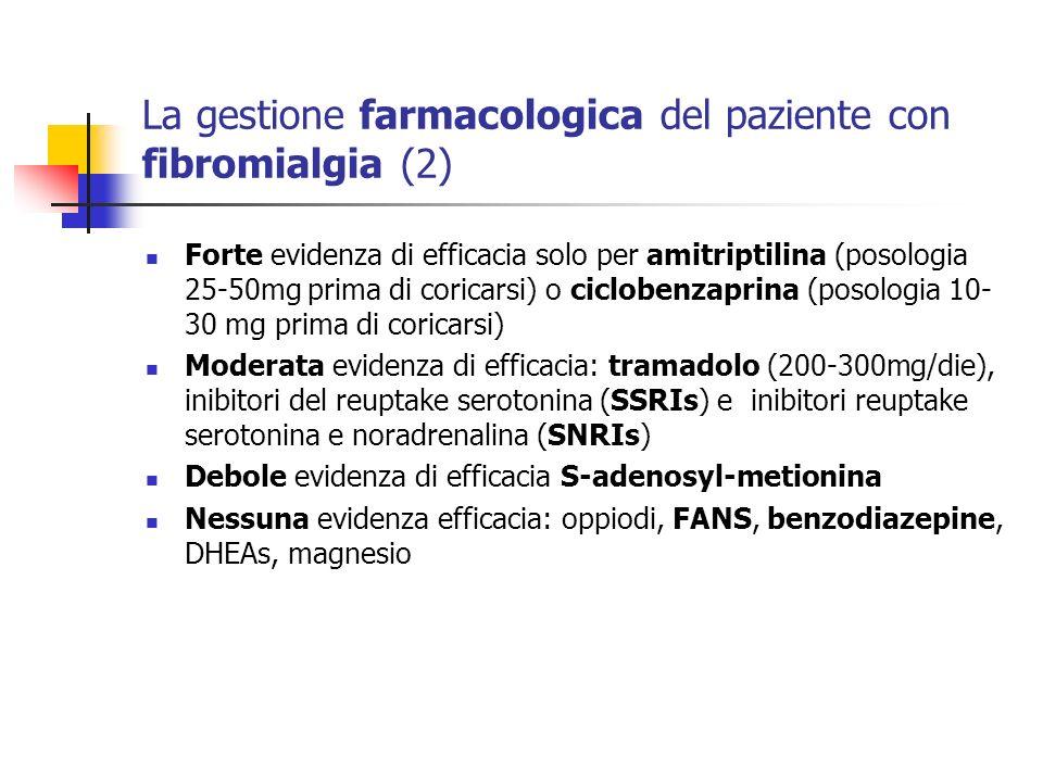 La gestione farmacologica del paziente con fibromialgia (2) Forte evidenza di efficacia solo per amitriptilina (posologia 25-50mg prima di coricarsi)