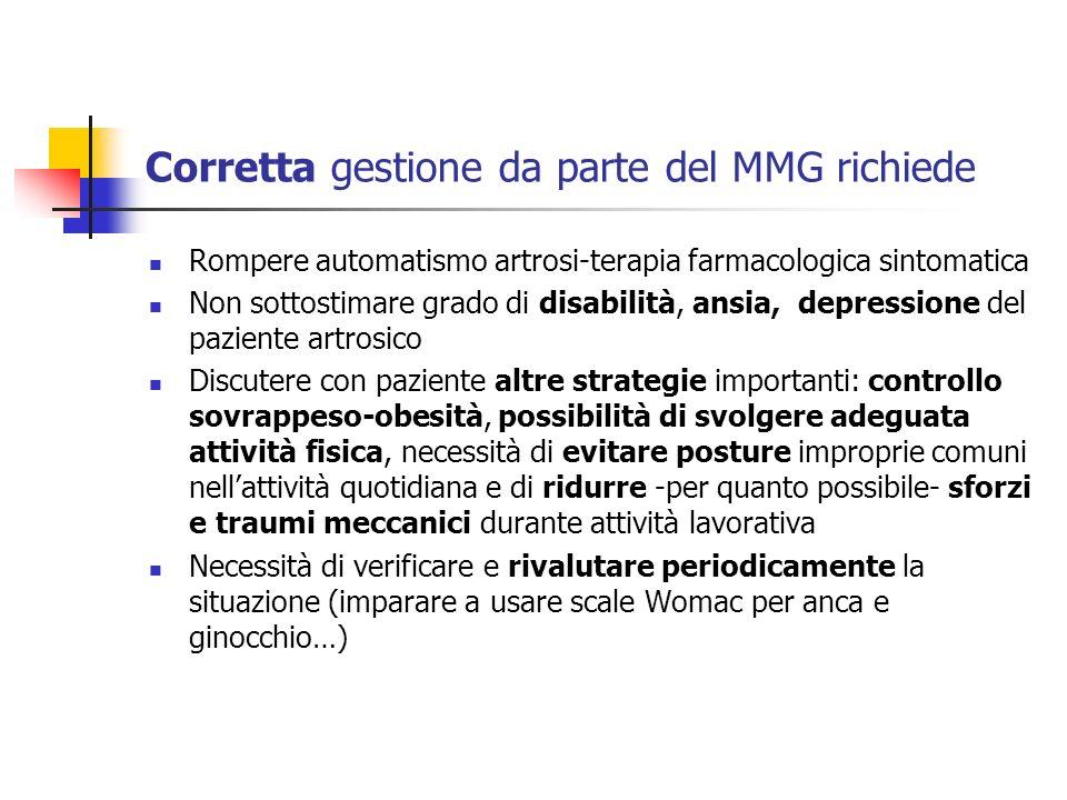 Corretta gestione da parte del MMG richiede Rompere automatismo artrosi-terapia farmacologica sintomatica Non sottostimare grado di disabilità, ansia,