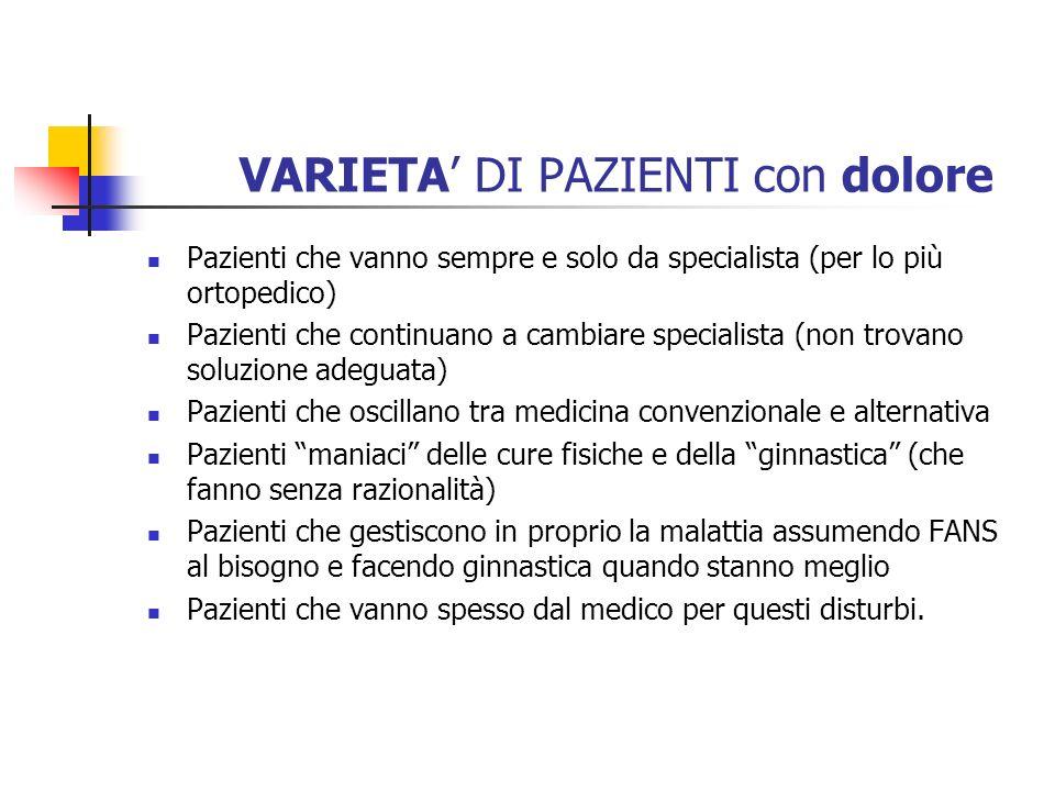 VARIETA DI PAZIENTI con dolore Pazienti che vanno sempre e solo da specialista (per lo più ortopedico) Pazienti che continuano a cambiare specialista