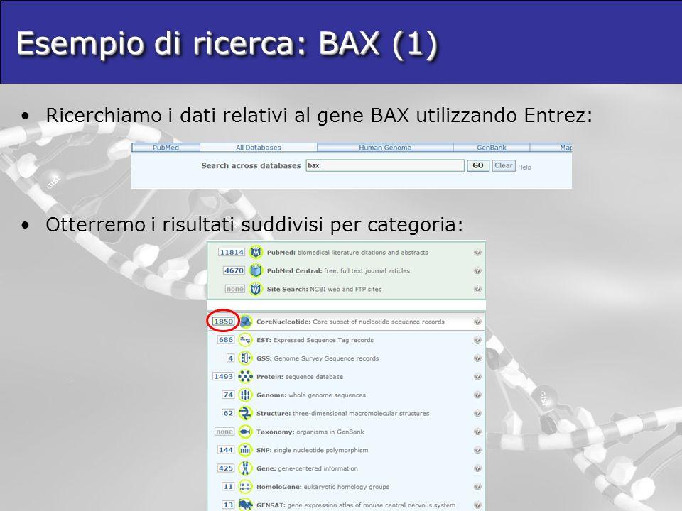 Esempio di ricerca: BAX (1) Ricerchiamo i dati relativi al gene BAX utilizzando Entrez: Otterremo i risultati suddivisi per categoria: