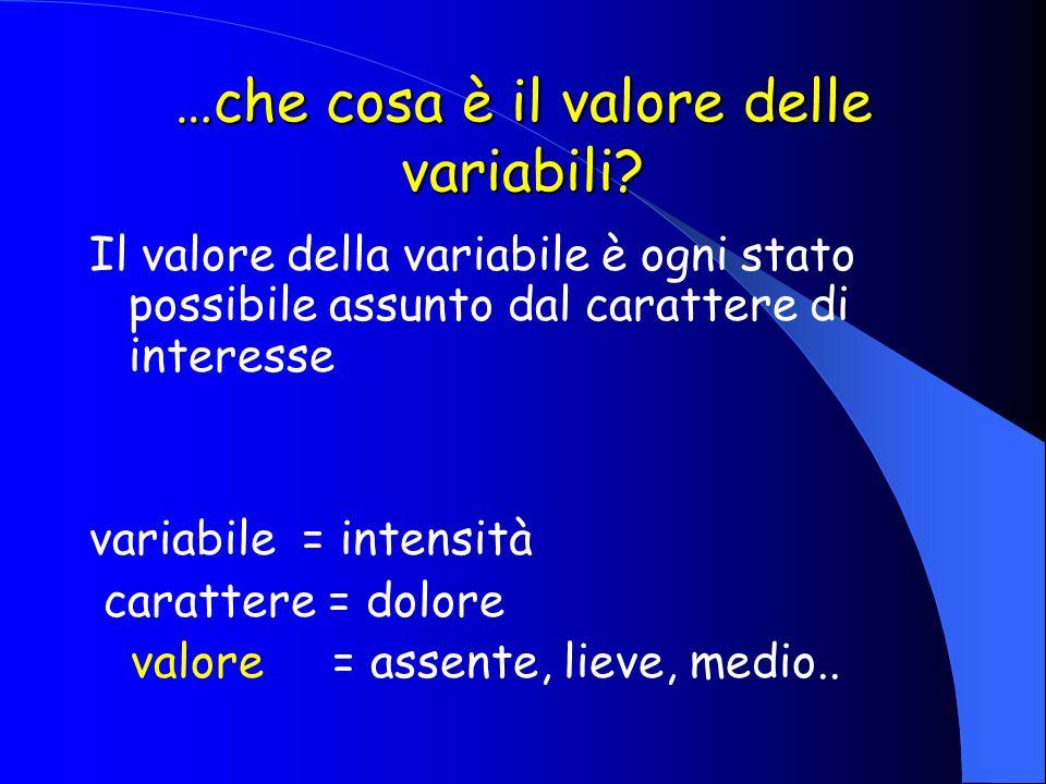 …che cosa è il valore delle variabili? Il valore della variabile è ogni stato possibile assunto dal carattere di interesse variabile = intensità carat