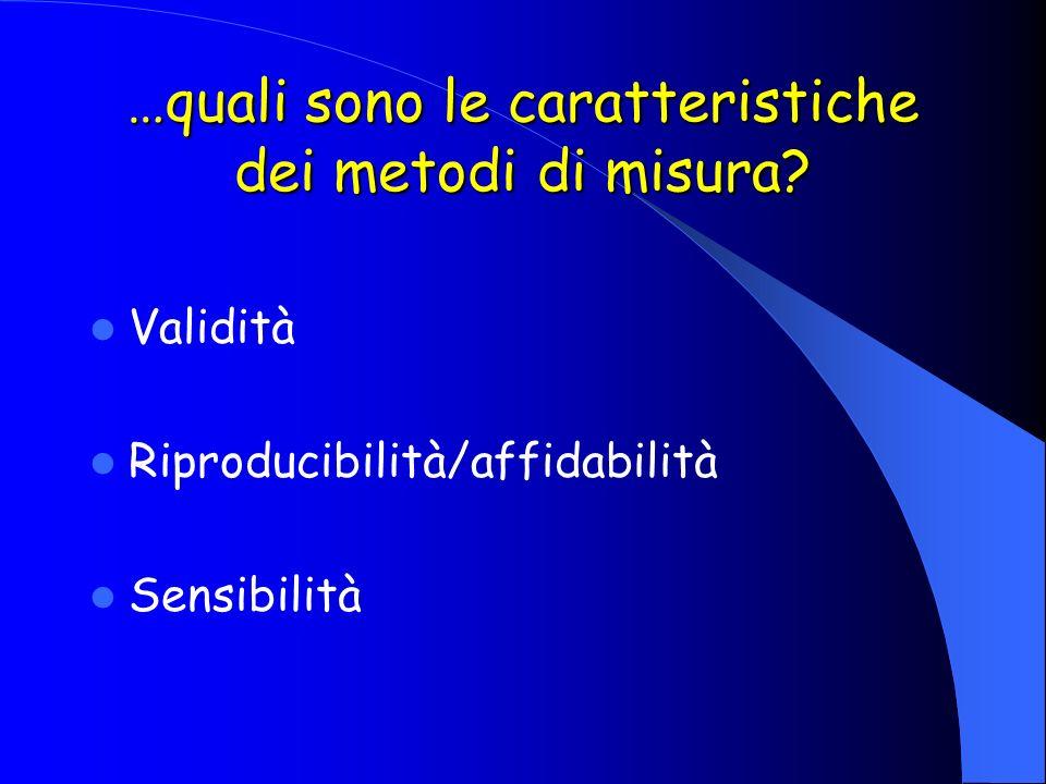 …quali sono le caratteristiche dei metodi di misura? Validità Riproducibilità/affidabilità Sensibilità