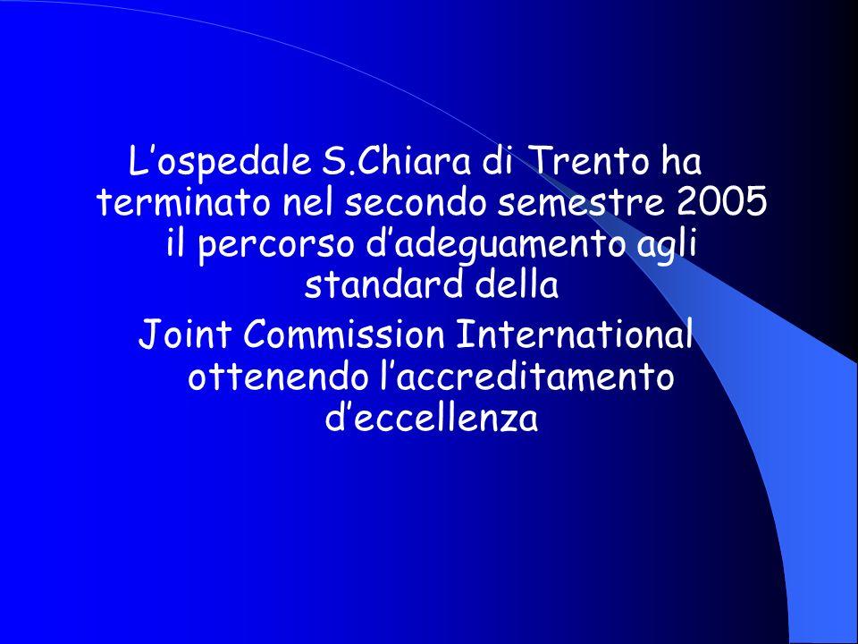 Lospedale S.Chiara di Trento ha terminato nel secondo semestre 2005 il percorso dadeguamento agli standard della Joint Commission International ottene