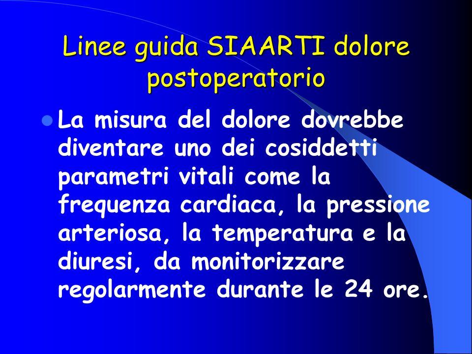 Linee guida SIAARTI dolore postoperatorio La misura del dolore dovrebbe diventare uno dei cosiddetti parametri vitali come la frequenza cardiaca, la p