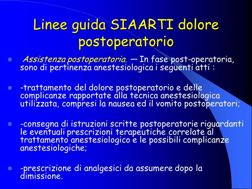 Linee guida SIAARTI dolore postoperatorio Assistenza postoperatoria. In fase post-operatoria, sono di pertinenza anestesiologica i seguenti atti : -tr