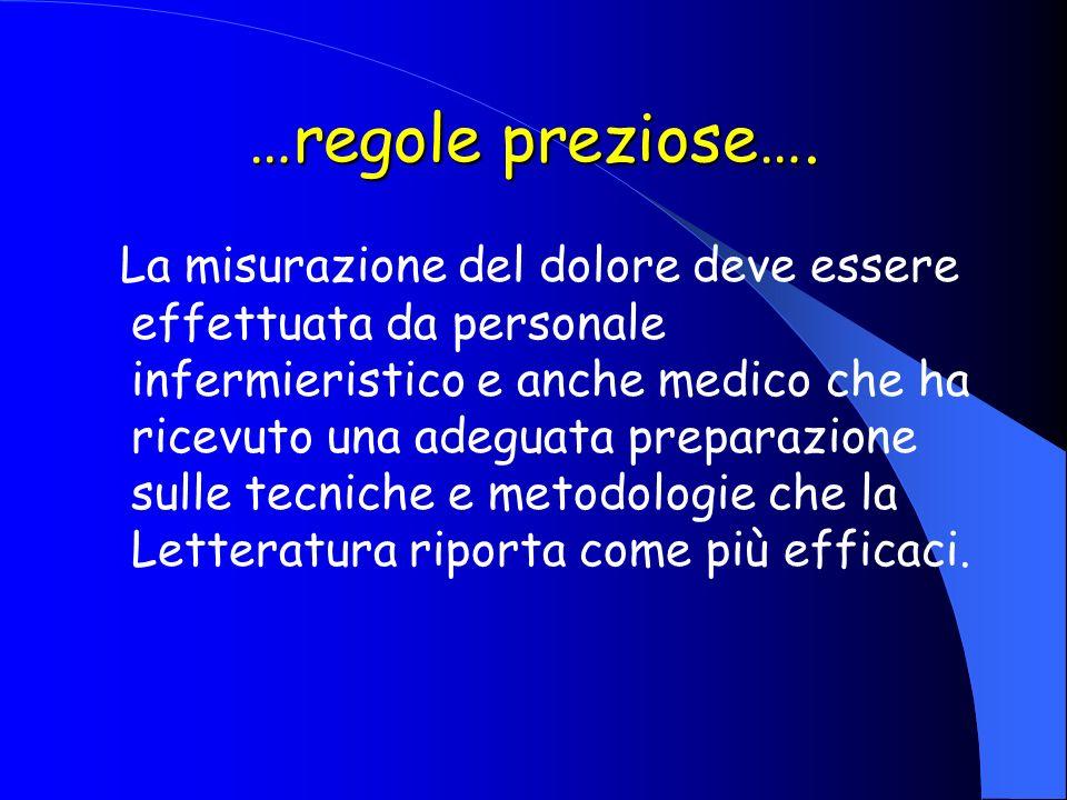 …regole preziose…. La misurazione del dolore deve essere effettuata da personale infermieristico e anche medico che ha ricevuto una adeguata preparazi