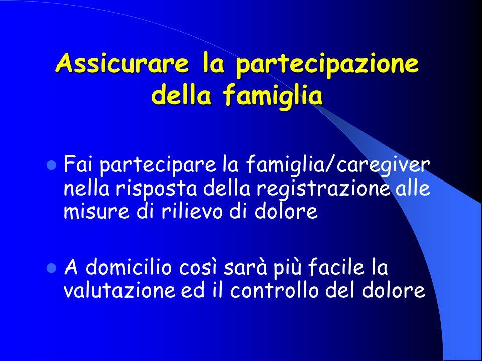 Assicurare la partecipazione della famiglia Fai partecipare la famiglia/caregiver nella risposta della registrazione alle misure di rilievo di dolore