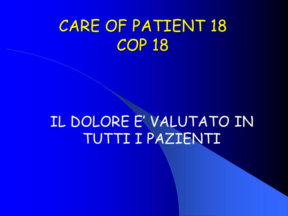 CARE OF PATIENT 18 COP 18 IL DOLORE E VALUTATO IN TUTTI I PAZIENTI