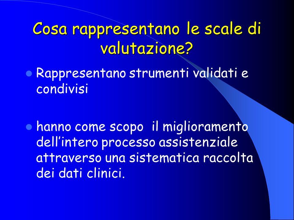 Cosa rappresentano le scale di valutazione? Rappresentano strumenti validati e condivisi hanno come scopo il miglioramento dellintero processo assiste