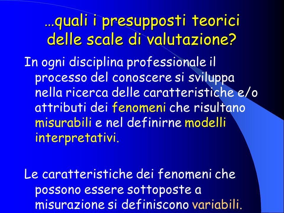 …quali i presupposti teorici delle scale di valutazione? In ogni disciplina professionale il processo del conoscere si sviluppa nella ricerca delle ca