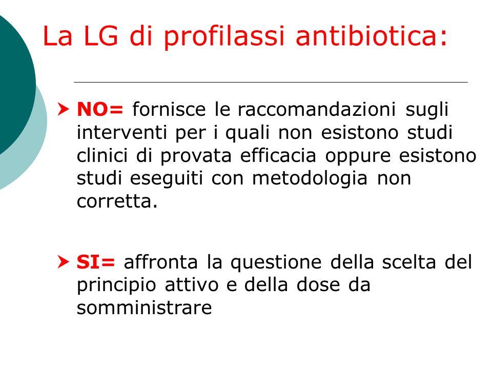 NO= fornisce le raccomandazioni sugli interventi per i quali non esistono studi clinici di provata efficacia oppure esistono studi eseguiti con metodo