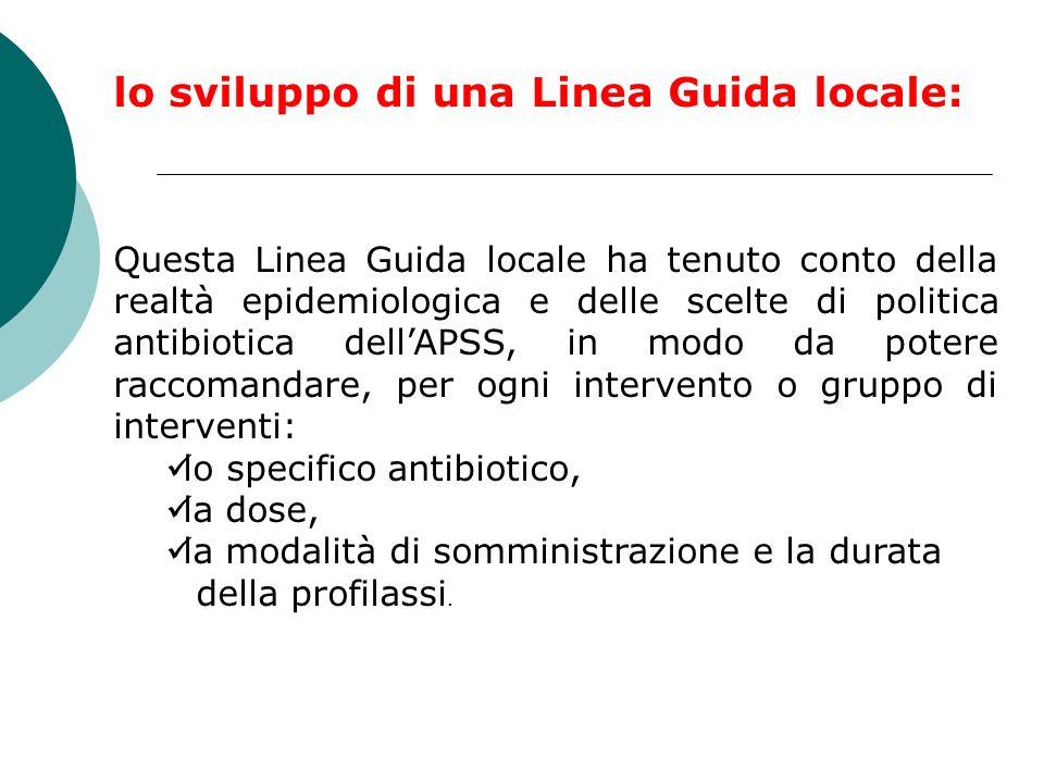 lo sviluppo di una Linea Guida locale: Questa Linea Guida locale ha tenuto conto della realtà epidemiologica e delle scelte di politica antibiotica de