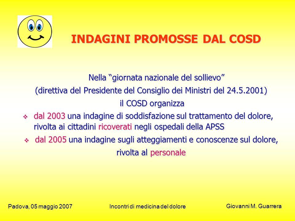Giovanni M. Guarrera Padova, 05 maggio 2007Incontri di medicina del dolore INDAGINI PROMOSSE DAL COSD Nella giornata nazionale del sollievo (direttiva