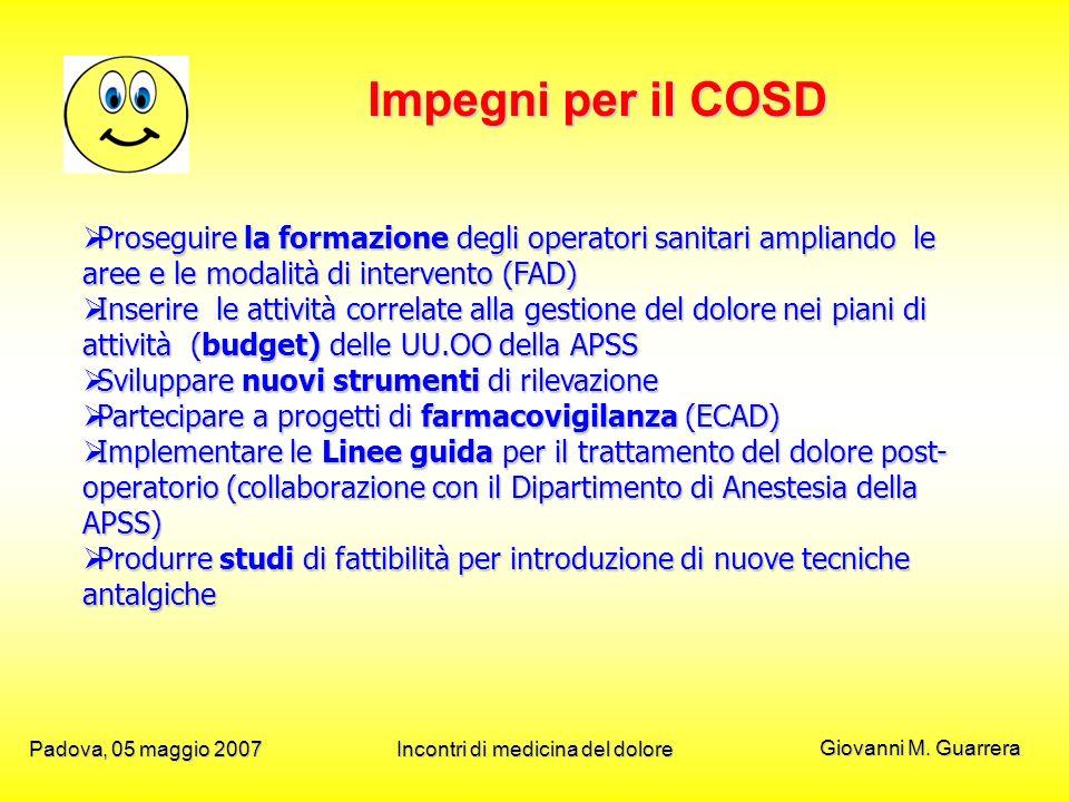 Giovanni M. Guarrera Padova, 05 maggio 2007Incontri di medicina del dolore Impegni per il COSD Proseguire la formazione degli operatori sanitari ampli