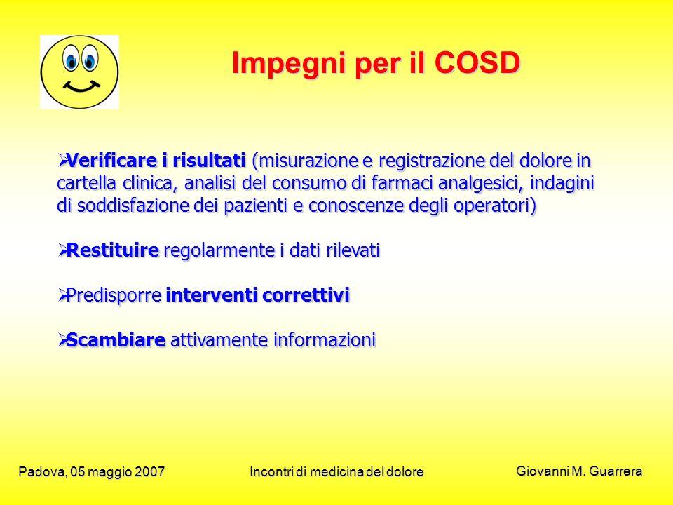Giovanni M. Guarrera Padova, 05 maggio 2007Incontri di medicina del dolore Impegni per il COSD Verificare i risultati (misurazione e registrazione del