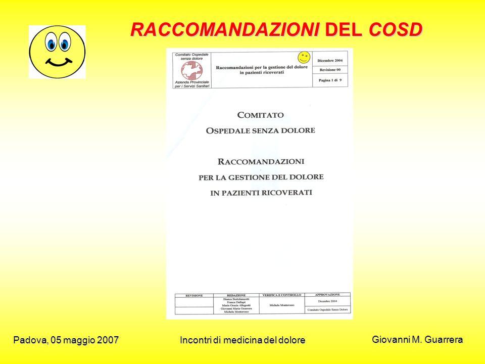 Giovanni M. Guarrera Padova, 05 maggio 2007Incontri di medicina del dolore RACCOMANDAZIONI DEL COSD