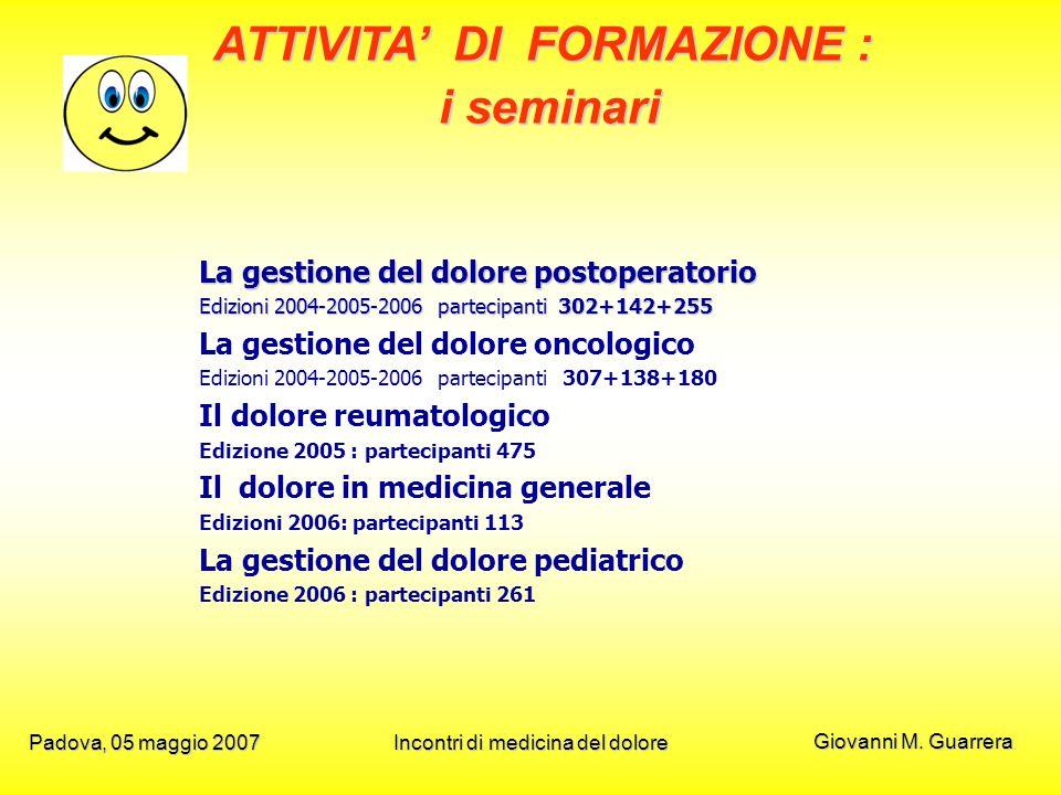 Giovanni M. Guarrera Padova, 05 maggio 2007Incontri di medicina del dolore La gestione del dolore postoperatorio Edizioni 2004-2005-2006 partecipanti