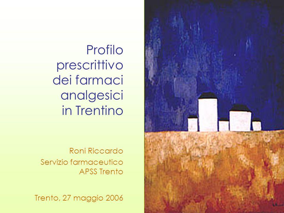Analgesici SSN: Trentino vs Italia totale consumi SSN* Italia: 808 DDD/1000 ab./die totale consumi SSN* Trento: 655 DDD/1000ab./die nota AIFA 66* Italia: 26,6 DDD/1000 ab./die nota AIFA 66* Trento: 15,0 DDD/1000 ab./die FANS non selettivi* Italia: 22,0 DDD/1000 ab./die FANS non selettivi* Trento: 11,7 DDD/1000 ab/die coxib* Italia: 4,6 DDD/1000 ab./die coxib* Trento: 3,3 DDD/1000 ab./die prevalenza duso nota AIFA 66 Trento: 15,4% * dato SSN 1° semestre 2005 -19% -44% -47% -29%