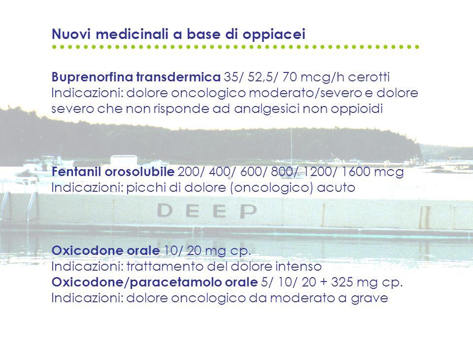 Nuovi medicinali a base di oppiacei Buprenorfina transdermica 35/ 52,5/ 70 mcg/h cerotti Indicazioni: dolore oncologico moderato/severo e dolore sever