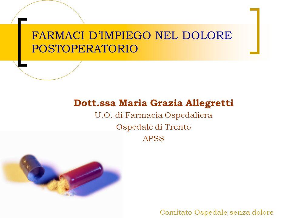 Comitato Ospedale senza dolore FARMACI DIMPIEGO NEL DOLORE POSTOPERATORIO Dott.ssa Maria Grazia Allegretti U.O. di Farmacia Ospedaliera Ospedale di Tr