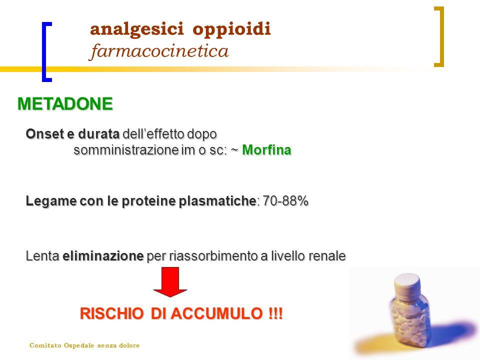 Comitato Ospedale senza dolore analgesici oppioidi farmacocinetica Onset e durata delleffetto dopo somministrazione im o sc: ~ Morfina RISCHIO DI ACCU