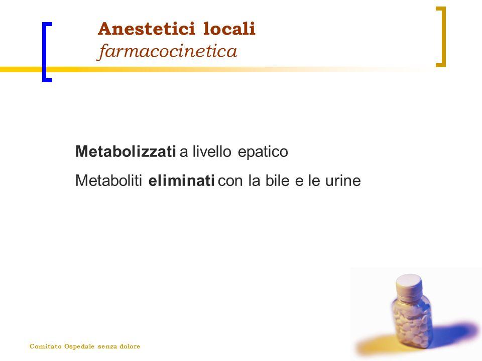 Comitato Ospedale senza dolore Anestetici locali farmacocinetica Metabolizzati a livello epatico Metaboliti eliminati con la bile e le urine