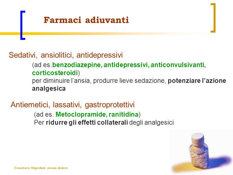 Comitato Ospedale senza dolore Farmaci adiuvanti Antiemetici, lassativi, gastroprotettivi (ad es. Metoclopramide, ranitidina) Per ridurre gli effetti