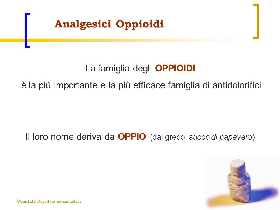 Comitato Ospedale senza dolore Analgesici Oppioidi La famiglia degli OPPIOIDI è la più importante e la più efficace famiglia di antidolorifici Il loro