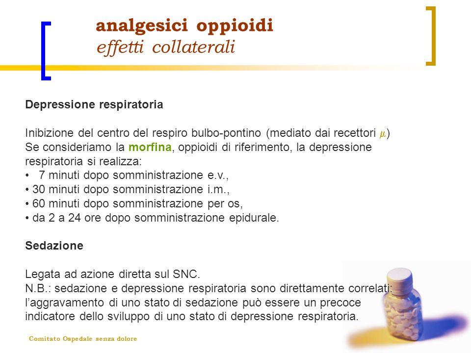 Comitato Ospedale senza dolore analgesici oppioidi effetti collaterali Depressione respiratoria Inibizione del centro del respiro bulbo-pontino (media