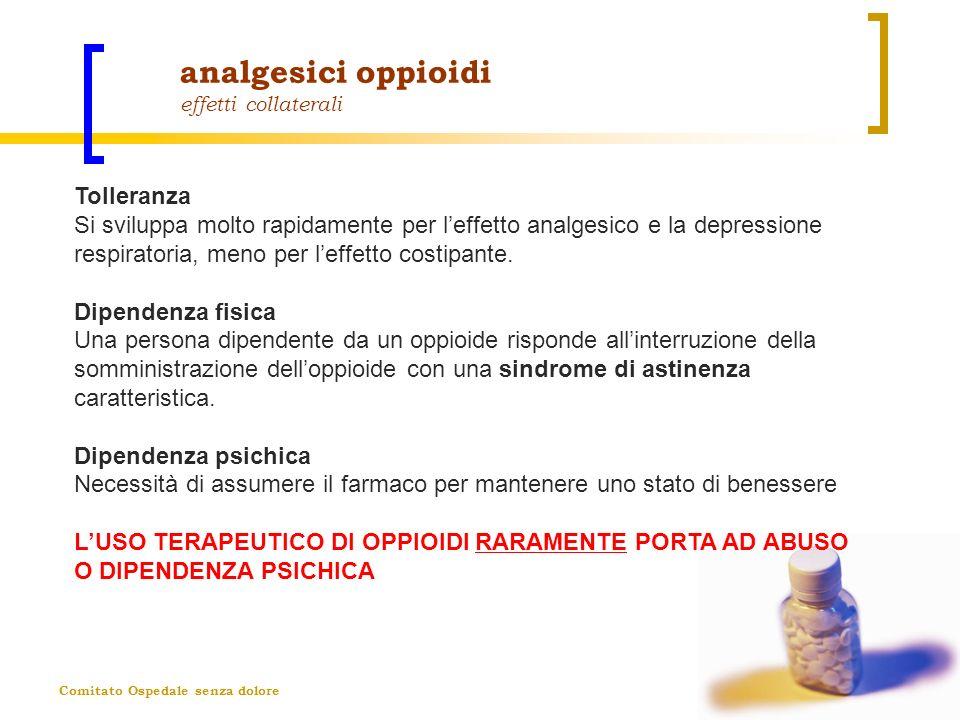Comitato Ospedale senza dolore analgesici oppioidi effetti collaterali Tolleranza Si sviluppa molto rapidamente per leffetto analgesico e la depressio