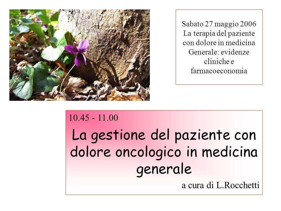 Sabato 27 maggio 2006 La terapia del paziente con dolore in medicina Generale: evidenze cliniche e farmacoeconomia 10.45 - 11.00 La gestione del pazie